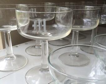 Monogrammed Barware Seven Styles of Glasses 45 Total Crystal Glasses