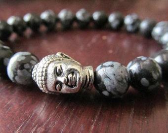 Snowflake Obsidian Buddha Bracelet, Energy Bracelet, Yoga Bracelet, Yoga Jewelry, Mala, Reiki,  Meditation Bracelet, Buddhism