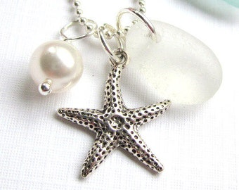 Sea Glass Necklace Genuine Beach Glass Necklace Seaglass Jewelry Charm Necklace Starfish Seaglass Wedding Necklace