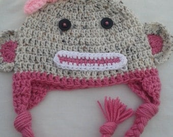 Crochet baby girl sock monkey hat, tan & pink, toddler girl monkey hat, monkey beanie, pink and brown crochet monkey hat