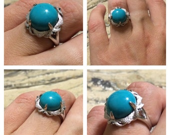 Earthy yet elegant! Sterling Silver 13mm Turquoise & Blue Diamond Textured Ring