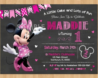 Minnie Mouse Birthday Invitation, Minnie Mouse Invitation 1st Birthday First Bday Girl, Pink Minnie Mouse Chalkboard Invite Party Printable