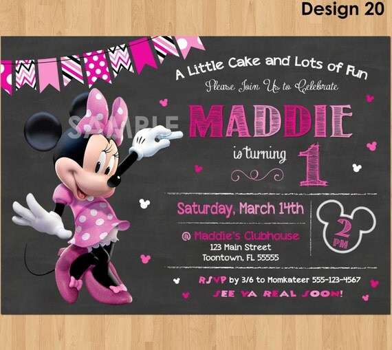Minnie Mouse Birthday Invitation Minnie Mouse Invitation 1st – Minnie Invitations for Birthdays