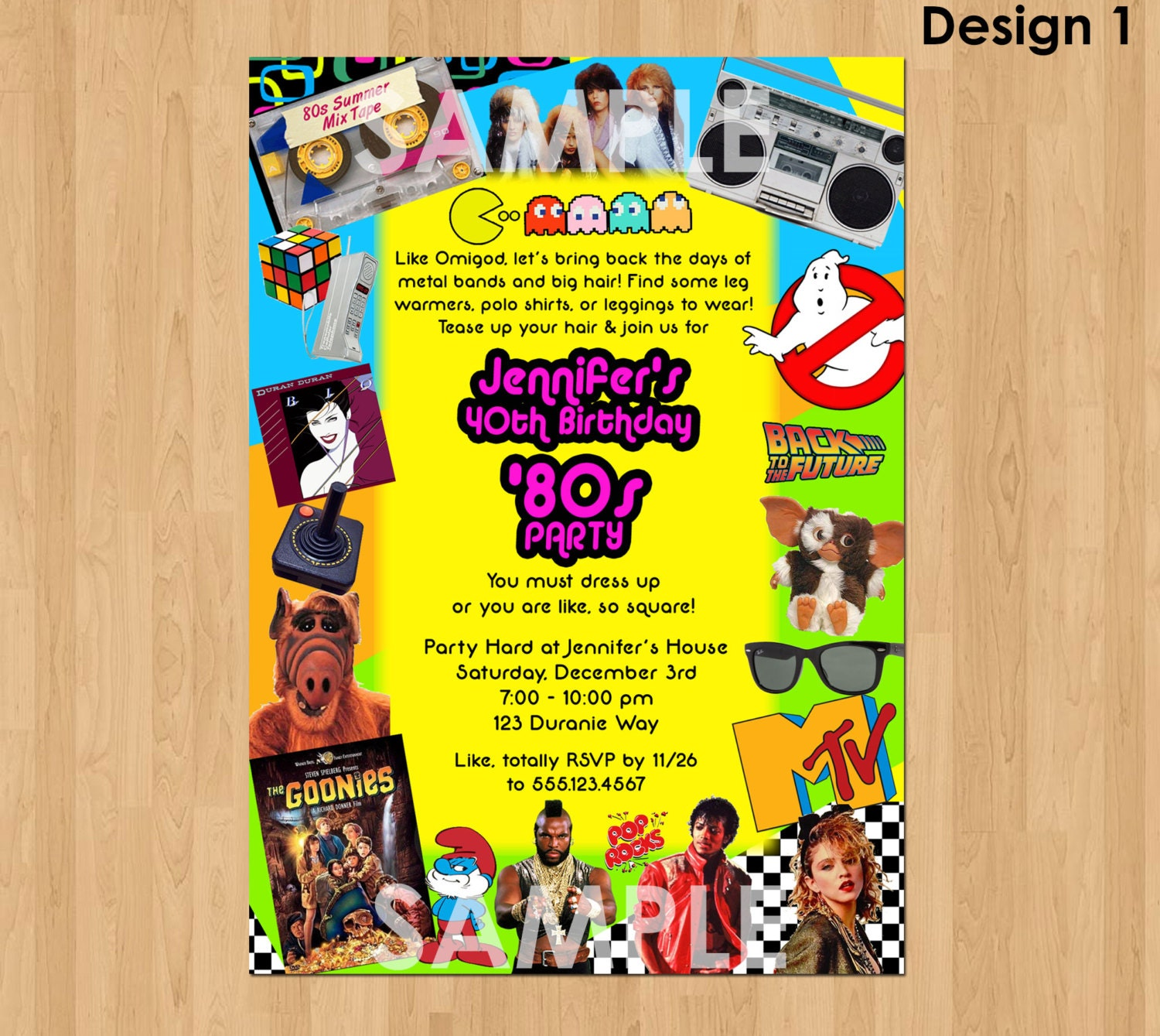 80s Birthday Invitation 80s Party Invitation 40th Birthday – 80s Theme Party Invitations