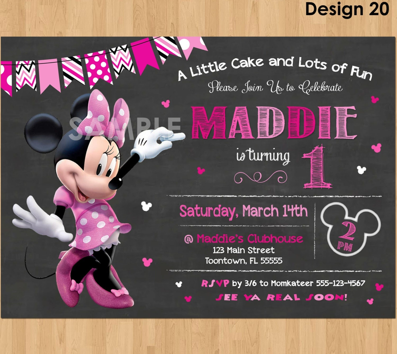 Minnie Mouse Birthday Invitation Minnie Mouse Invitation 1st