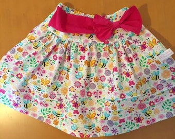 Bees, Butterflies, Flowers, Girls Skirt
