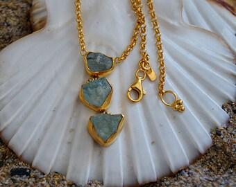 Unique Handmade Rough Apatite Necklace by Ferimer 18 k Gold Vermeil Over Sterling Silver