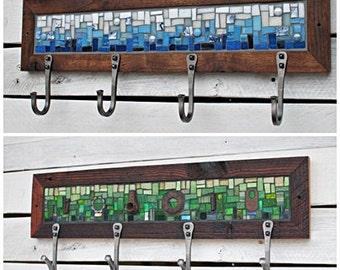 Four Hook Custom Coat Rack, Mosaic Coat Rack, Hand-forged Entryway Coat Hooks, Wall Coat Rack, Reclaimed Wood Frame