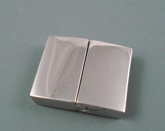Stainless Steel Flat Clasp,  Large Interlocking Clasp, 21mm Long, 2.5mm x 15mm Inner Diameter (FLATSS21164)
