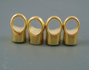 8MM Brass End Cap, FOUR Simple Gold Finish Caps for Leather, Kumihimo  or Cord, 8mm Cap (CAP8-006)