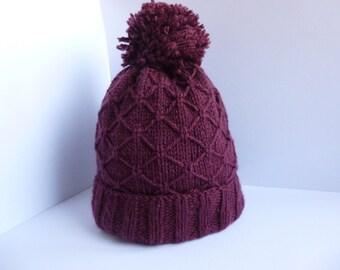 Purple Diamond Patterned Bobble/Pom Pom Hat