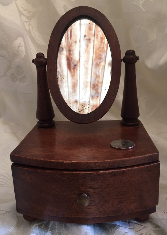 Small Retro Wooden Dresser Top Vanity Mirror With Curved