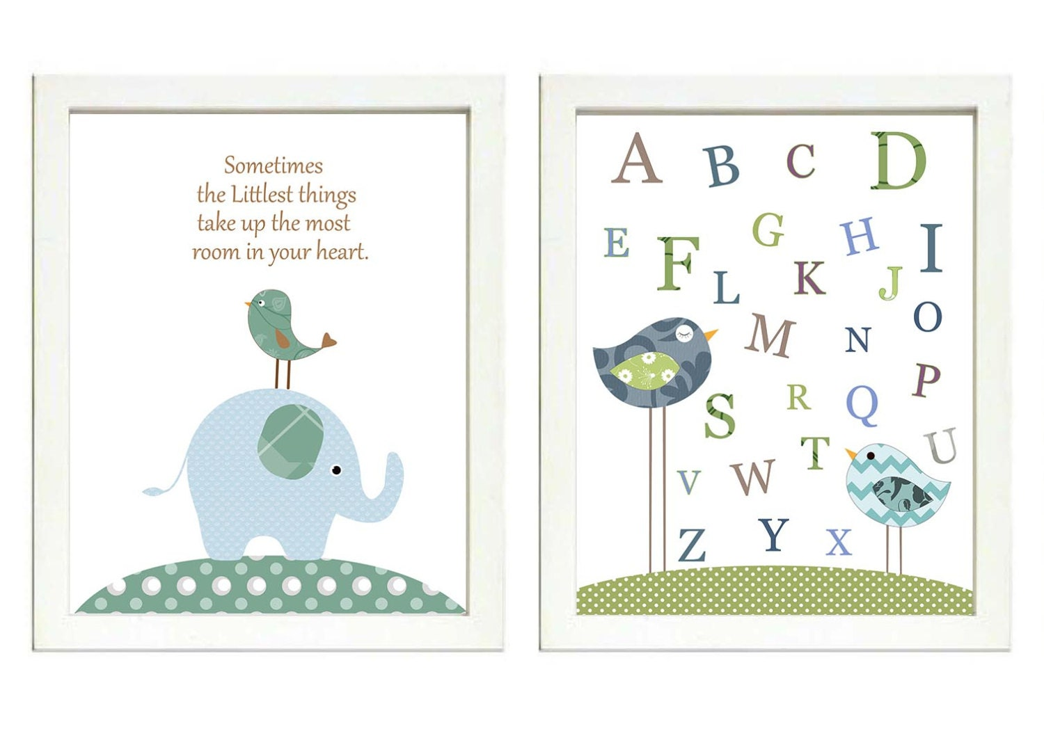Blue Teal Green Brown Boys Elephant Nursery Art Print Set of 2 Bird Elephant ABC Alphabet Baby Nurse