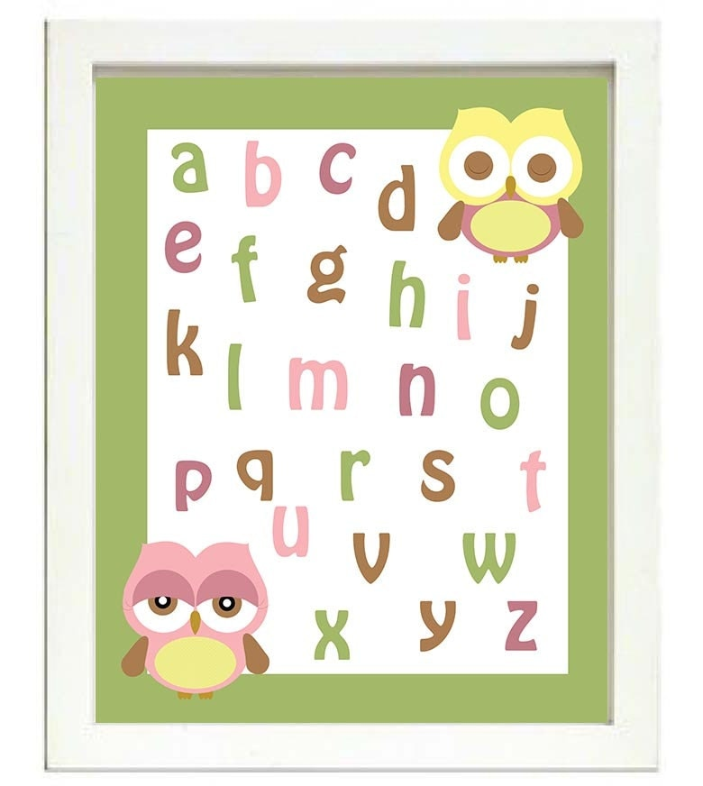 ABC Alphabet Nursery Art Owl Nursery Print Baby Art Animal Pink Yellow Mint Green Brown Print Wall A