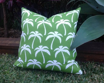 Outdoor Cushions Palm Tree Outdoor Pillows Palm  Turquoise Navy  Indoor Outdoor Decorative Pillows  Cushions Tropical Pillows