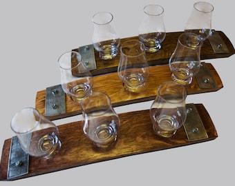 The Original Barrel Stave Whiskey Flight, Scotch Flight, Bourbon Flight, 3 Glencairn Crystal glass flight, Barrel Art