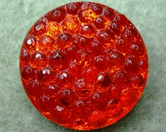 Czech Glass Button 27mm - hand painted -  red/orange bubbles, silver (B27264)