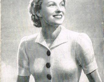 Ladies vintage retro Jacket knitting pattern for modern knitting.  PDF Instant download.