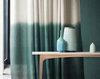rideau de cyan tie dye ombre par ohanahomedecor sur etsy. Black Bedroom Furniture Sets. Home Design Ideas