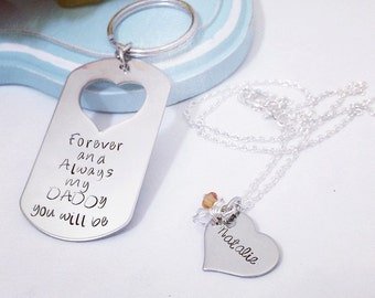 Daddy/ Daughter keychain necklace set