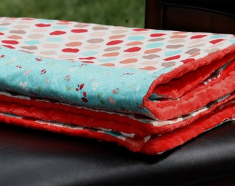 Boutique Style Blanket with Minky Backing- Baby Blanket by Elliebug Quilts - READY TO SHIP