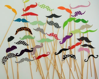 38 Colorful mustaches on a stick wedding photo booth props  cardstock