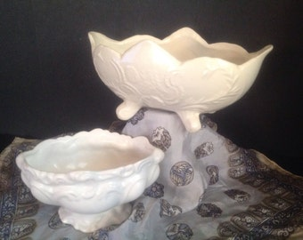 1 left!  Your Choice of vintage all white pottery planters oval with fancy ornate raised fluorishes