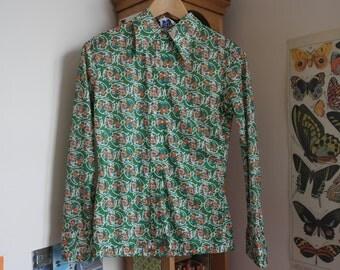 Green Vibrant Sixties/Seventies Floral Shirt