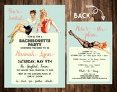 Mint & Pink Pinup Bachelorette Party Invitation; Double-sided; Printable or set of 10
