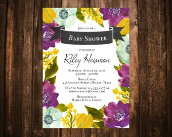 Floral Baby Shower Invitation; Purple, Yellow, Teal; Printable or set of 10