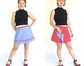 1960s Chambray Wrap Mini Skirt Reversible Red Striped Cotton Skirt Vintage 60s 70s 1970s Women's Small