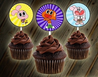 The Amazing World of Gumball Cupcake Toppers Digital Image Button