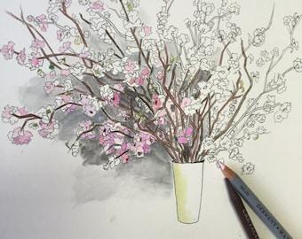 COLORING BOOK PAGE Spring Flowers in Vase  by Diane Bronstein