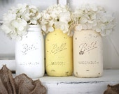 Free shipping - Mason Vases - Jars - Set of 3 - Distressed Chalk Finish - Yellow - Ivory Hydrangea - Floral - Shabby Chic - Country