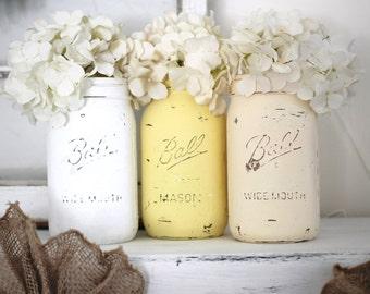 Distressed Mason Jars, Painted Mason Jars, Mason Jar Vases, Teal And Gray, Country Decor, Teal photo - 1