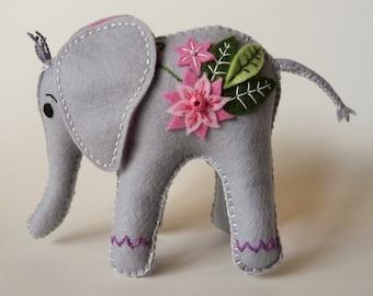 Elephant Plushie, Stuffed Elephant, Animal Decor, Elephant Shelf Sitter, Elephant Knick Knack, Felt Elephant, Made to Order, Customer Order