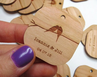50 - 1.5 x 1.5 Birds Kissing Wedding Tags - Custom Wedding Tags - Wood Wedding Tags