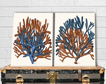 Set of 2 Blue and Orange Coral Prints - Nautical Print Art Print Beach House decor Beach Decor Nautical Wall Art Decor coral art digital