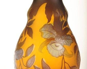 "Galle TIP Beautiful Art Nouveau Cameo Glass 11"" large Vase"