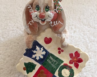 Quilting Bunny Christmas Ornament