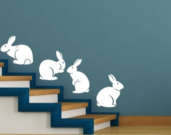 cute bunny rabbits silhouettes set of 4 -  wall art decal vinyl sticker decor