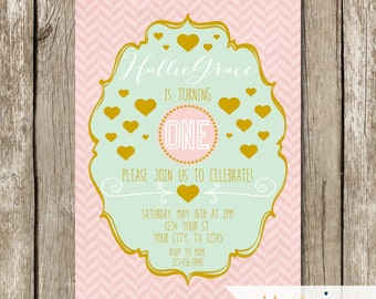 Gold, Pink, Mint & Hearts First Birthday Party Invitation - Gold, Mint, Pink Birthday Party - Gold Pink Mint Hearts Birthday Party