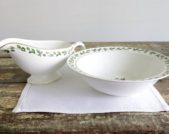 Gravy Boat & Round Vegetable Bowl Set - Dinner Serving Set - Cameo Rose By Hall China - Thanksgiving Dinner Set - Wedding Gifts