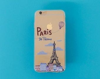 """Clear Plastic Case Cover iPhone 6Plus (5.5"""") Je Taime Paris"""