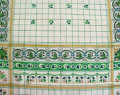 Vintage 70s Large Flowered Check Cotton
