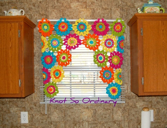 Crochet Flower Window Valance Pattern : Window Valance Flower Valance Kitchen Curtain Crochet