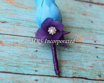 Malibu blue boutonniere, Malibu Blue, Purple, groom gift, wedding package, flower package