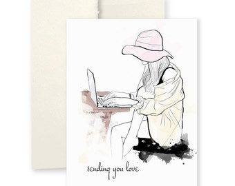 Sending You Love Card - Greeting Card, Fashion Illustration, Miss You Card