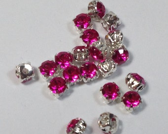 20 crystals strass fuxia 4mm.