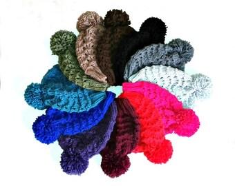 PDF Knitting Pattern - Vegan Hat - Beanie Hat - Bobble Hat - Pom Pom - Women – Teenagers